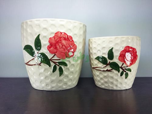 گلدان سرامیکی زنبوری گل سرخ