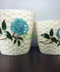 گلدان سرامیکی زنبوری گل آبی