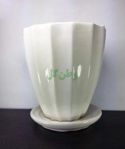 گلدان سرامیکی شیاردار با زیر گلدانی
